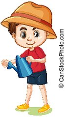 Boy with big smile watering plants illustration