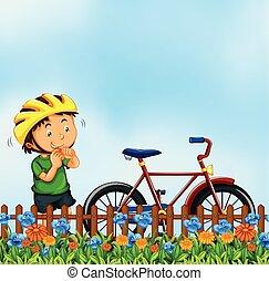 Boy with bike nature scene