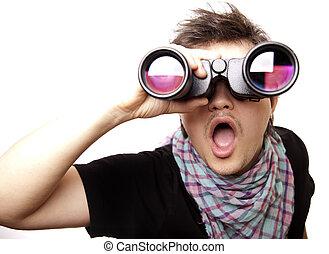 Boy with binocular