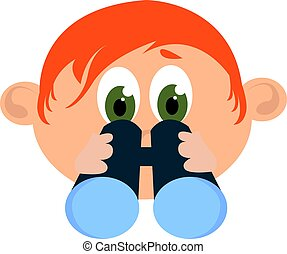 Boy with binoculars, illustration, vector on white background.