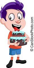 Boy with birthday cake, illustration, vector on white background.