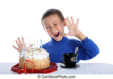boy with birthday cake isolated on white