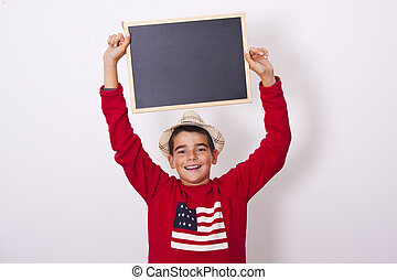 boy with blackboard isolated on white