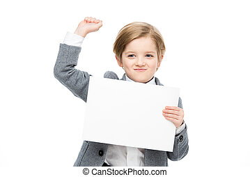Boy with blank card