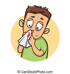 Boy with bleeding nose. Cartoon design icon. Flat vector illustration. Isolated on white background.