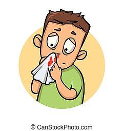 Boy with bleeding nose. Cartoon design icon. Flat vector illustration. Isolated on white background.