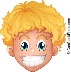 Boy with blond hair smiling