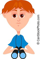 Boy with blue shirt, illustration, vector on white...