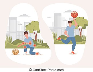 Boy with body pains trying to take ball, happy active man playing with basketball in city park vector flat illustration.