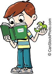 Boy with book and apple