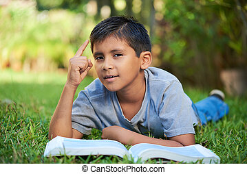 boy with book and idea