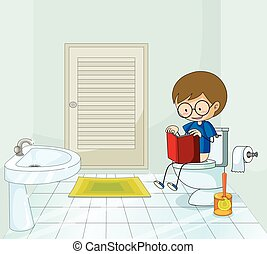 Boy with book using the toilet