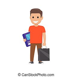 Boy with Box and Bag Illustration. Shopping Time