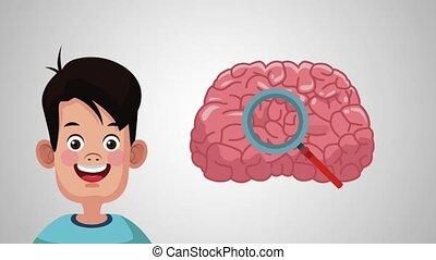 Boy with brain HD animation