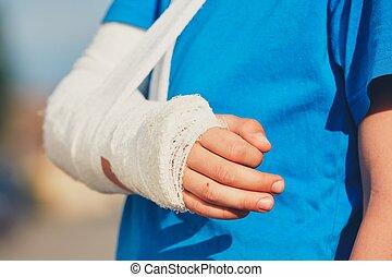 Boy with broken hand - Broken hand of the little boy injured...