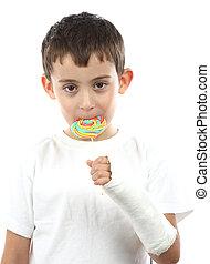 Boy with broken hand in cast