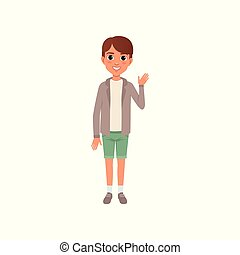 Boy with brown hair in stylish casual clothes jacket, t-shirt and shorts. Cartoon kid with smiling face expression standing and waving hand. Flat vector design