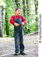 Boy with brushwood - Little boy in summer forest with ...