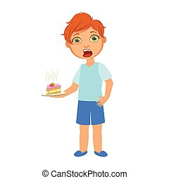 Boy With Cake Nauseous, Sick Kid Feeling Unwell Because Of ...