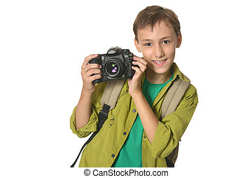 Boy with camera on a white background