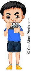 Boy with camera on white background