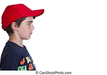 boy with cap - child with hat in profile on white background
