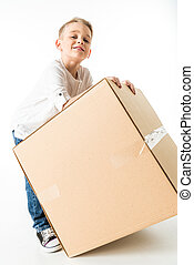 Boy with cardboard box
