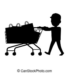 Boy with Cart Silhouette. Shopping Collection