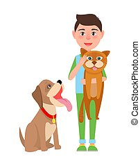 Boy with Cat and Dog Poster Vector Illustration