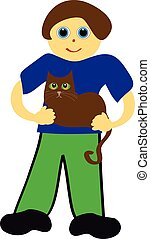 Boy with cat on white background