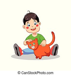 Boy with cat vector illustration on white background