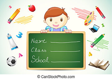 Boy with Chalkboard