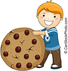 Boy with Chocolate Cip Cookies with Clipping Path