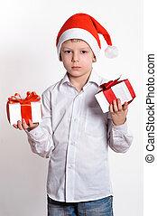 boy with christmas gift box.