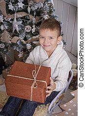 Boy with Christmas gift on sleigh