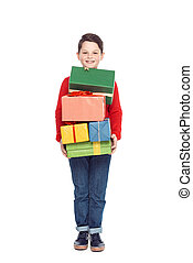 boy with christmas presents