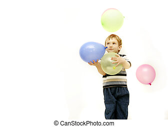 boy with colorful balloons over white