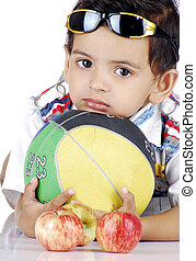 boy with colourful objects