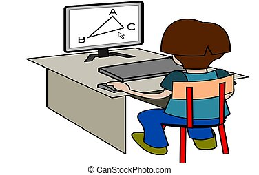 boy with computer illustration