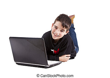boy with computer isolated on white