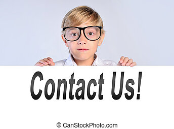 boy with contact us