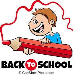 boy with crayon back to school cartoon illustration