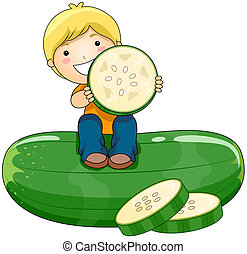 Boy with Cucumber with Clipping Path