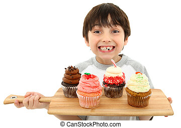 Boy with Cupcakes and Icing