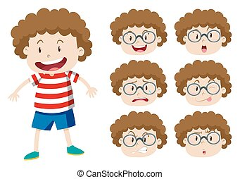 Boy with curly hair and many expressions