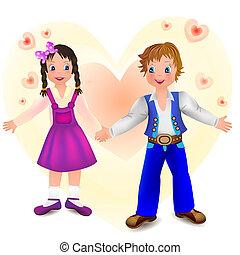 Boy with cute girl