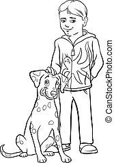 boy with dalmatian dog cartoon coloring book