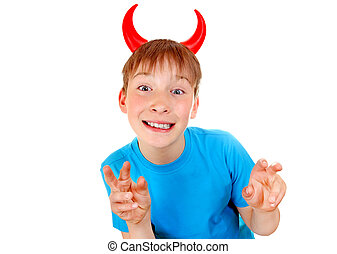 Boy with Devil Horns