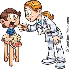 Boy with doctor - Cartoon doctor examining a boy's throat....