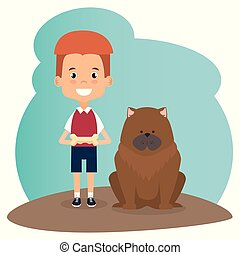 boy with dog character